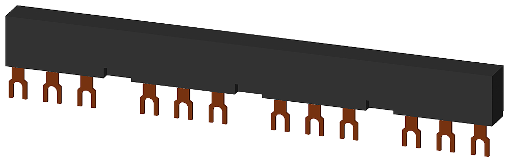 4-ph. busbars modular spacing 55 mm for 3 switches connections in fork shape