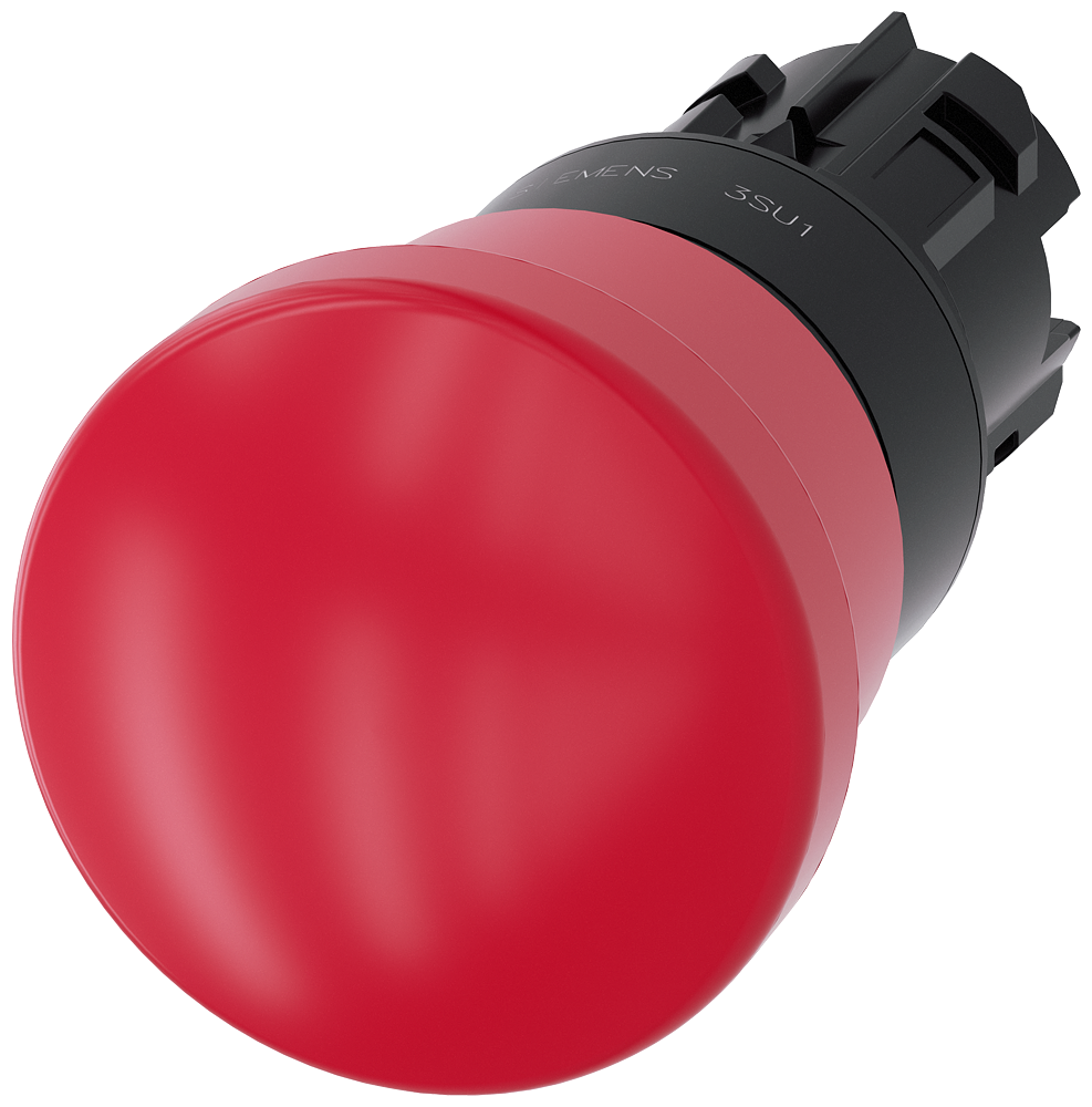 EMERGENCY STOP mushroom pushbutton, 22 mm, round, plastic, red, 40 mm, positive latching, acc. to EN ISO 13850, pull-to-unlatch mechanism