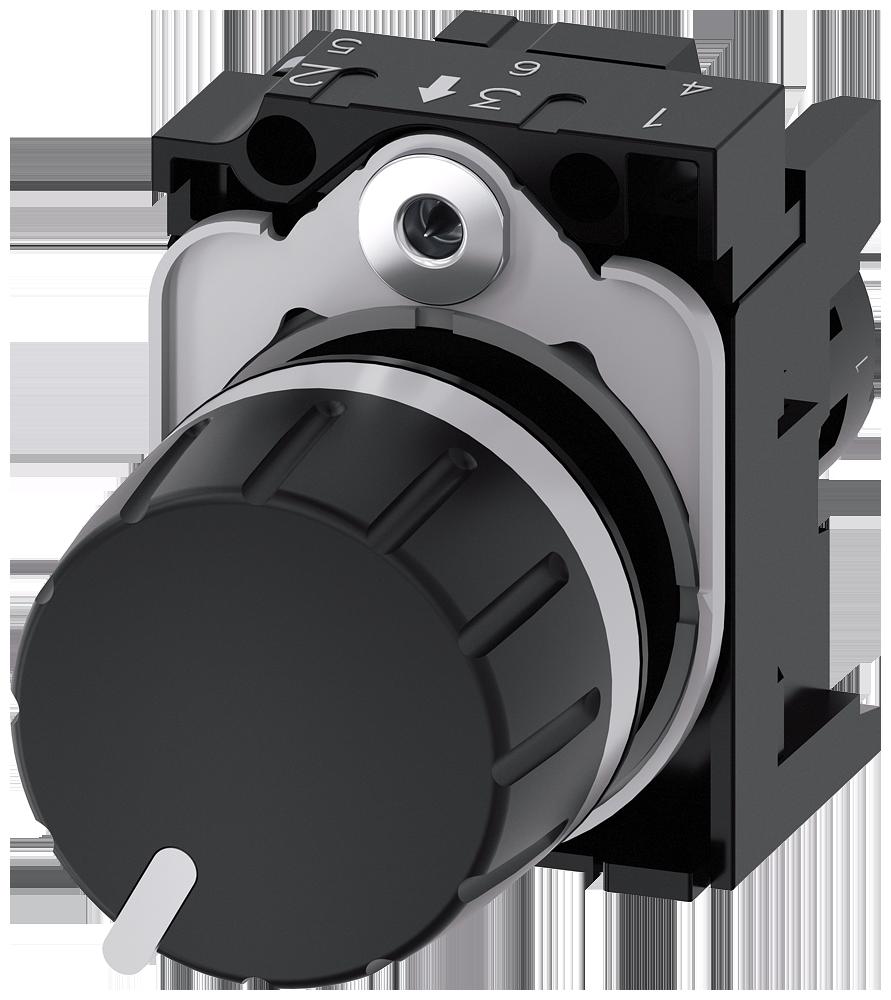 Potentiometer, 22 mm, round, plastic, black, 2.2 kohm, with holder
