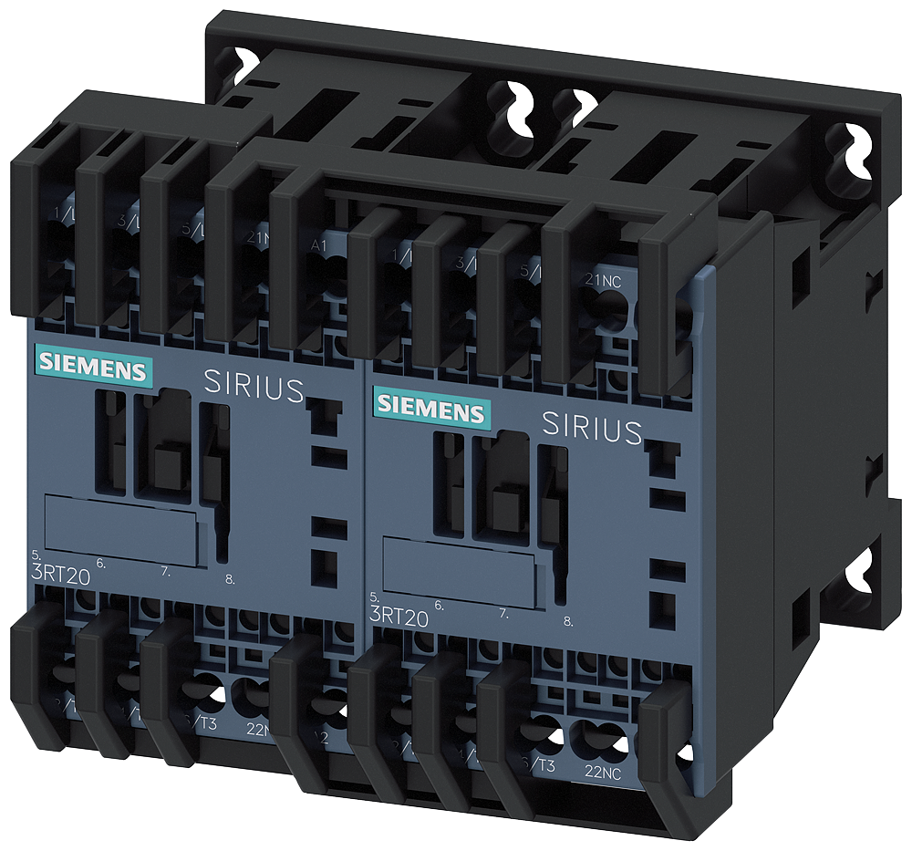 Reversing contactor assembly AC-3, 3 kW/400 V 220 V AC 50 Hz/240 V 60 Hz, 3-pole Size S00, Spring-type terminal electrical and mechanical interlock