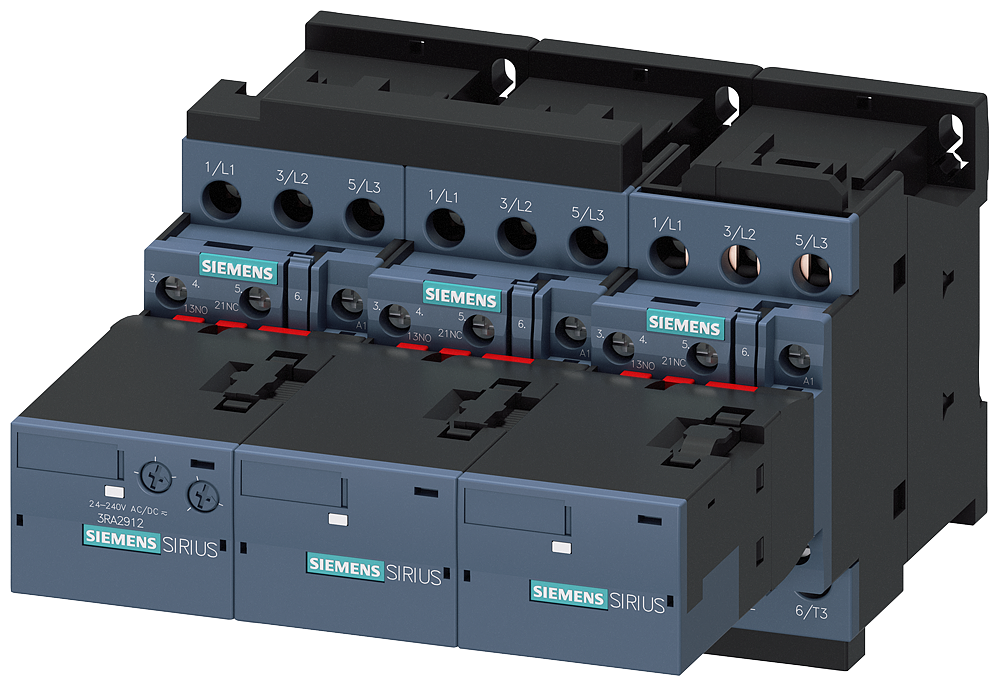 Contactor assembly for star-delta (wye-delta) start AC-3, 15/18 kW/400 V, 110 V AC 50 Hz/120 V, 60Hz, 3-pole Size S0, screw terminals electrical and m