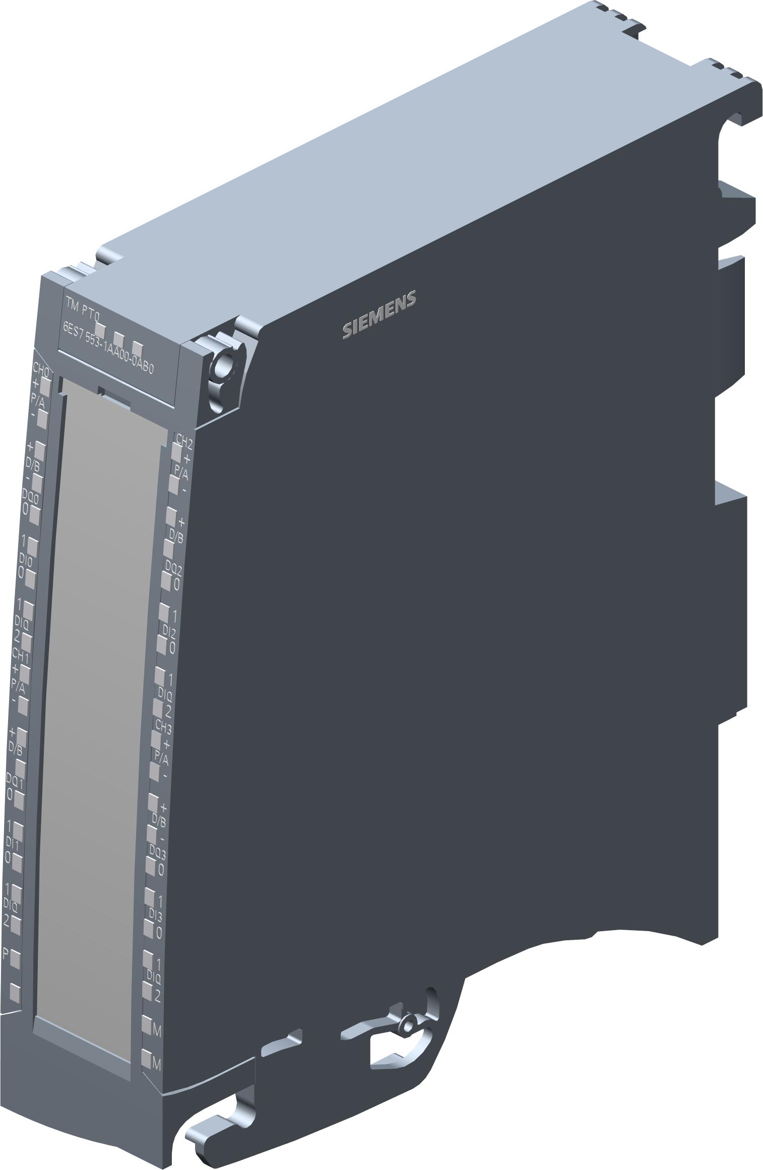 SIMATIC S7-1500, TM PTO 4 Interface board for stepper drives 4 Channels Pulse Train output PTO: 24 V, 2 DI, 1 DQ 24VDC per channel