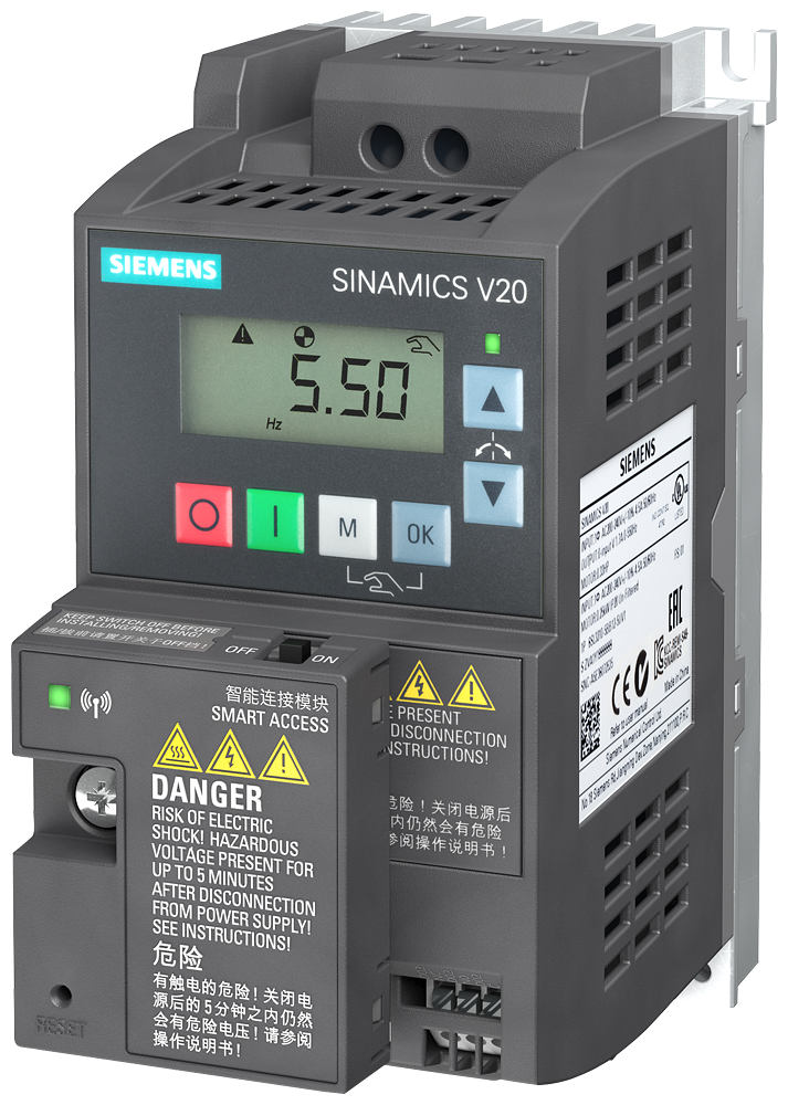 Starter kit SINAMICS V20 Consisting of SINAMICS V20 Rated power 0.37 kW with 150% overload for 60 s. 200-240 V 1 AC -10/+10% 47-63 Hz Integrated filter C1 I/O interface: 4 DI, 2 DQ, 2 AI, 1 AQ Fieldbus: USS/MODBUS RTU With built-in BOP Degree of protection IP20/UL Open Type Size: FSAA 68x142x108 (WxHxD) Parameter loader BOP interface V20 BOP Smart Access The delivery quantity is limited to 3 units per customer.