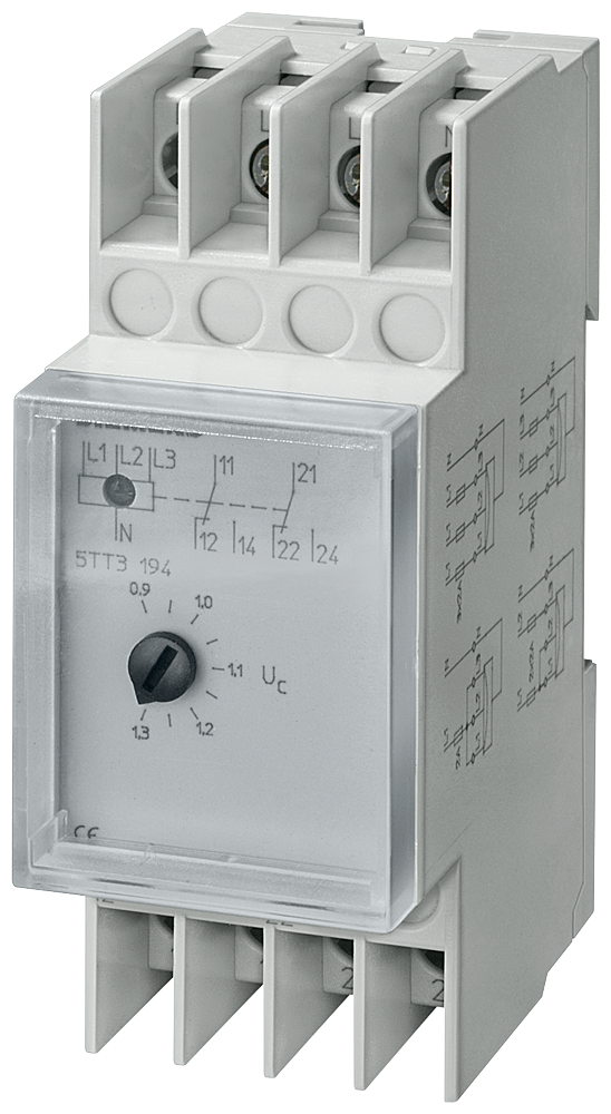 Voltage relays AC 230/400V 2W 0.9/1.3 Asymmetrical monitoring With transparent cap