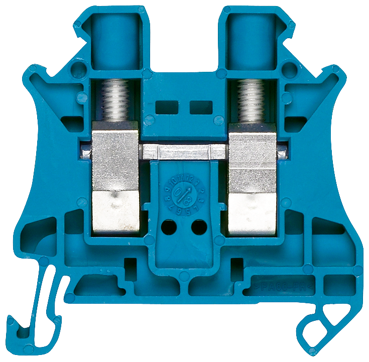 Through-type terminals with screw terminal Terminal size 2.5 mm2 Terminal width 5.2 mm color blue