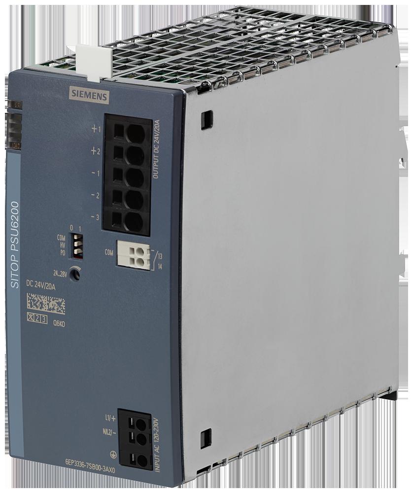 SITOP, стабилизированный блок питания PSU6200 24 V/20 A, вход: ~120/230 В, выход: =24 В/20 A, с диагностическим интерфейсом