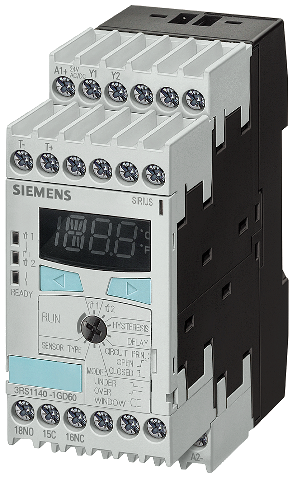 Temperature monitoring relay Pt100/1000, KTY83/84, NTC screw terminal