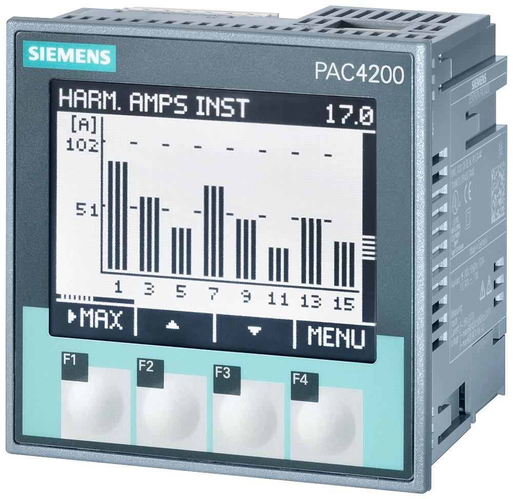 Многофункциональное измерительное устройство SENTRON PAC4200, с ЖК дисплеем, размер панели 96x96 мм, напряжение питания 22 … 65 В DC, измерительные входы Ue:  макс. 3 AC 500/289 В, Ie:  /1 A или /5 A, винтовые присоед. клеммы
