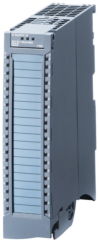 SIMATIC S7-1500, digital input module DI 32x24 V DC HF, 32 channels in groups of 16  Input delay 0.05..20 ms Input type 3 (IEC 61131)  Diagnostics, ha